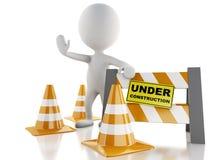 la gente blanca 3d para la muestra con los conos del tráfico Bajo construcción Imágenes de archivo libres de regalías