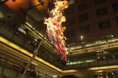 La gente brucia una bandiera degli Stati Uniti Fotografie Stock