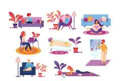 La gente cada rutina de la vida del día, pasa tiempo en casa ilustración del vector