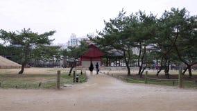 La gente cammina in parco autentico tradizionale contro costruzione di legno storica, Seoul video d archivio
