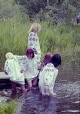 La gente celebra el día de fiesta de Ivana Kupala en la naturaleza natural imagen de archivo