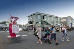 La gente che cammina al lungomare di Wellington, isola del nord della Nuova Zelanda Immagini Stock Libere da Diritti