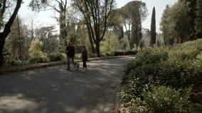 La gente che cammina con un cane nel parco stock footage
