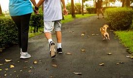 La gente che cammina congiuntamente nel parco con stile arancio Immagine Stock