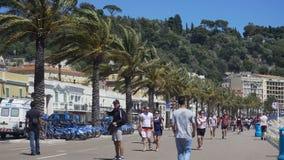 La gente che cammina giù la strada pedonale occupata il giorno ventoso, palme che remano su di fianco archivi video