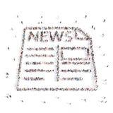 La gente che cammina in giornale, notizie illustrazione 3D Fotografia Stock Libera da Diritti