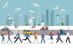 La gente che cammina nella città illustrazione vettoriale