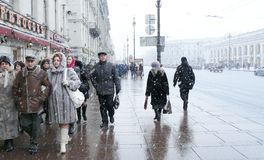 Bufera di neve a St Petersburg Fotografia Stock Libera da Diritti