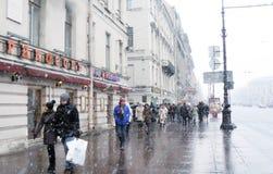 Bufera di neve a St Petersburg Immagini Stock Libere da Diritti