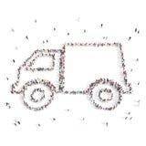 La gente che cammina in un'automobile illustrazione 3D Fotografie Stock Libere da Diritti