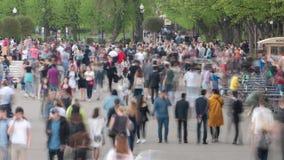 La gente che cammina in un moto di timelpase del parco stock footage