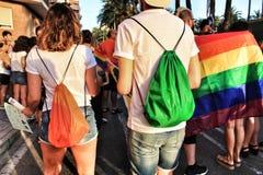 La gente che celebra gay pride in Spagna Immagine Stock Libera da Diritti