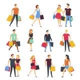 La gente che compera con le icone isolate piano del fumetto di vettore delle borse del negozio messe illustrazione di stock