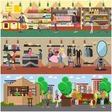 La gente che compera in un deposito e nelle insegne di concetto del mercato del locale Illustrazione variopinta di vettore illustrazione di stock