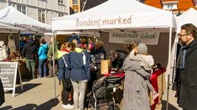 La gente che compra prodotti freschi ad un mercato del ` s dell'agricoltore Fotografia Stock Libera da Diritti