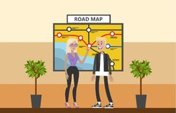 La gente che esamina mappa illustrazione di stock