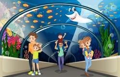La gente che esamina pesce nell'acquario illustrazione vettoriale