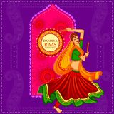 La gente che esegue ballo di Garba su progettazione dell'insegna del manifesto per la notte di Dandiya illustrazione vettoriale