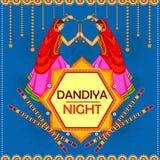 La gente che esegue ballo di Garba su progettazione dell'insegna del manifesto per la notte di Dandiya royalty illustrazione gratis