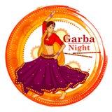 La gente che esegue ballo di Garba su progettazione dell'insegna del manifesto per la notte di Dandiya illustrazione di stock