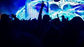 La gente che fa festa al festival di musica in diretta stock footage