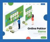 La gente che gioca concetto isometrico del materiale illustrativo del gioco del poker online illustrazione vettoriale