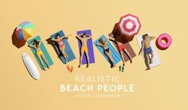 La gente che gode del sole sulla spiaggia illustrazione di stock