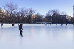 La gente che gode della pista di pattinaggio di pattinaggio su ghiaccio Immagini Stock