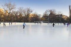 La gente che gode della pista di pattinaggio di pattinaggio su ghiaccio Fotografie Stock Libere da Diritti