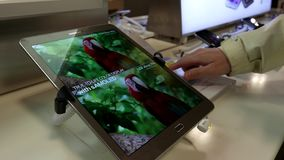 La gente che guarda prezzo da pagare con il cellulare della compressa della linguetta della galassia di Samsung dell'esposizione stock footage