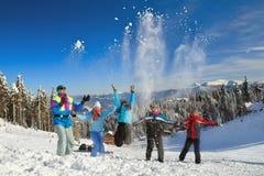 La gente che ha lotta della palla di neve Fotografia Stock