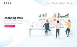 La gente che interagisce con i grafici e che analizza le statistiche Concetto di visualizzazione di dati di vettore Illustrazione illustrazione di stock