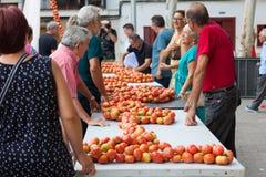 """La gente che lega insieme i pomodori per formare i mazzi d'attaccatura durante la fiera di notte """"di Ramellet """"del pomodoro immagini stock libere da diritti"""