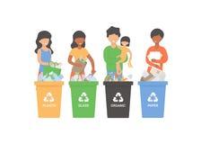 La gente che ordina immondizia, rifiuti, rifiuti illustrazione di stock