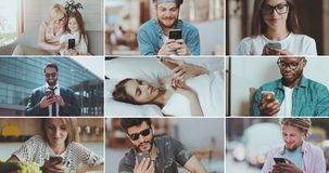 La gente che per mezzo degli smartphones stock footage