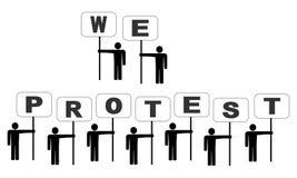 La gente che protesta con i segni Fotografie Stock Libere da Diritti