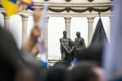 La gente che protesta contro il governo dell'Ecuador Fotografie Stock