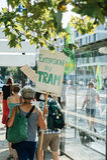 La gente che protesta contro l'inquinamento atmosferico Fotografie Stock