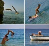 La gente che salta nel mare (collage) Fotografia Stock