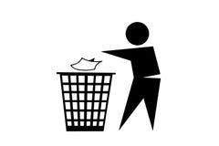 La gente che scarica rifiuti sul fondo bianco immagini stock