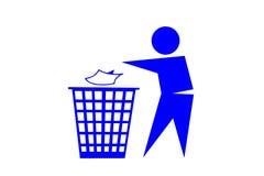 La gente che scarica rifiuti sul fondo bianco fotografia stock libera da diritti