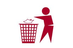 La gente che scarica rifiuti sul fondo bianco fotografia stock