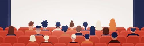 La gente che si siede nel cinema o nel corridoio del cinema e che esamina lo schermo di proiezione Uomo e donne che guardano film illustrazione vettoriale