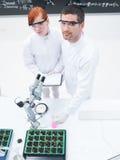 La gente che studia in un laboratorio di chimica Fotografia Stock