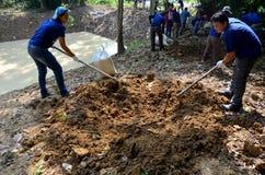 La gente che tailandese il volontario prepara il sale lecca per gli animali mangia a PanoenThung fotografia stock libera da diritti