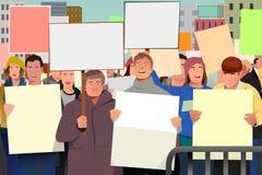 La gente che tiene pamphlet nell'illustrazione di dimostrazione Fotografia Stock
