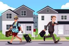 La gente che va lavorare e vacation concetto royalty illustrazione gratis