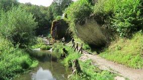 La gente che visita la cascata Dreinmuehlen Inghilterra del travertino tre mulini a Nohn nella regione Germania di Vulcan Eifel video d archivio