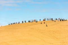 La gente che visita il più alta duna di sabbia di Pyla in Europa Fotografia Stock