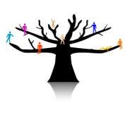 La gente in cima d'albero illustrazione vettoriale